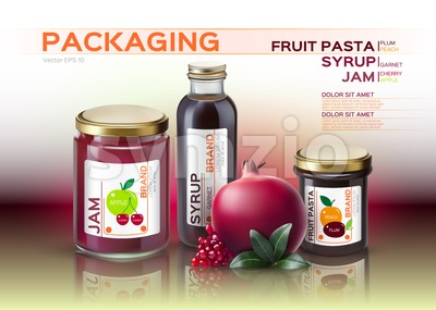 Fruit pasta, jam and syrup bottles mock up. Vector realistic products. 3d packaging label design Stock Vector