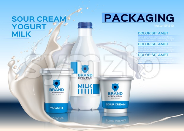 Milk mock up realistic Vector. Sour cream and yogurt products. 3d packaging label design. Milk splash background Stock Vector