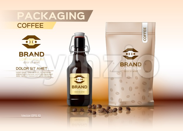 Coffee packaging mock up Vector realistic. Coffee syrup bottle. Coffee beans bag product. Label logo design Stock Vector