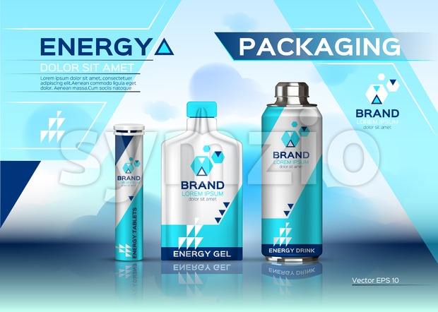 Energy realistic set mock up. Energy Drink, gel and pills product packaging. Vector 3d label design