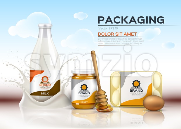 Vector realistic food products Milk and honey bottles, eggs packaging. 3d detailed mock up label design
