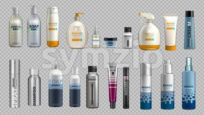 Digital Vector Realistic Bottles Set Collection Mockup Stock Vector