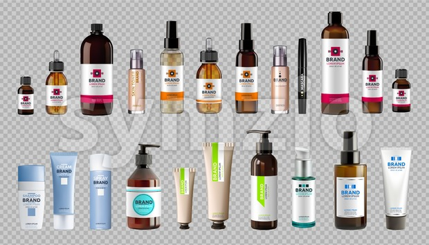 Digital Vector Realistic Bottles Set Collection Mockup Stock Vector
