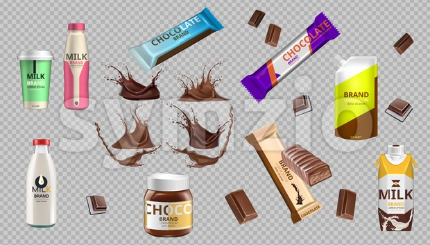 Digital Vector Realistic Chocolate Bars and Milk Bottle Package Mockup
