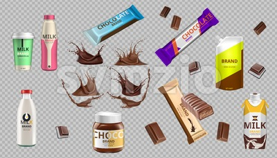 Digital Vector Realistic Chocolate Bars and Milk Bottle Package Mockup Stock Vector