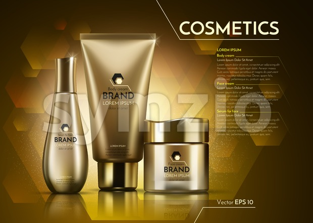 Gold Cosmetics Vector realistic package ads template. Face and body cream products bottles. Mockup 3D illustration. Sparkling background
