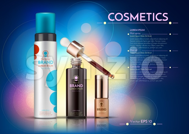 Cosmetics Vector realistic package ads template. hair products bottles. Mockup 3D illustration. Abstract blue background