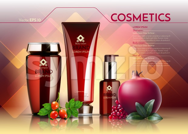 Cosmetics Vector realistic package ads template. Face cream and hair products bottles. Pomegranate and egglantine extract. Organic set Mockup 3D Stock Vector
