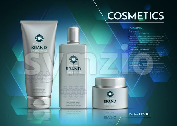 Cosmetics Vector realistic package ads template. Face cream and hair products bottles. Mockup 3D illustration. Abstract blue background Stock Vector