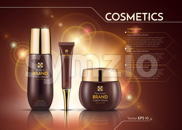 Cosmetics Vector realistic package ads template. Face cream and hair products bottles. Mockup 3D illustration. Sparkling background