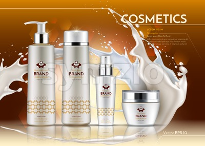 Cosmetic realistic package ads template. Hydrating Face and body cream products in white bottles. Vector Mockup 3D illustration. Milk splash drops Stock Vector
