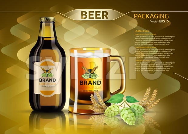 Vector Realistic beer bottle and glass. Brand packaging template. Logo designs. Gold background