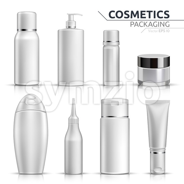 Realistic Cosmetic bottles mock up set on white background. Blank templates of empty and clean white plastic containers. Vector packaging ...