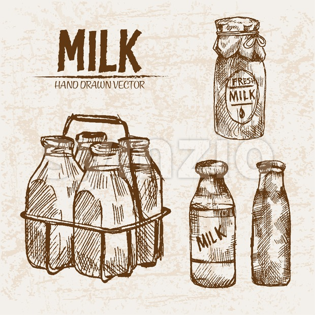 Digital vector detailed line art fresh milk in glass bottles hand drawn retro illustration collection set. Thin artistic pencil outline. ...