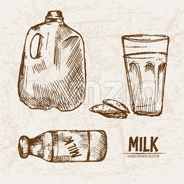 Digital vector detailed line art fresh milk in glass and packed hand drawn retro illustration collection set. Thin artistic pencil ...