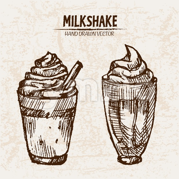 Digital vector detailed line art milkshake with whipped cream hand drawn retro illustration collection set. Thin artistic pencil outline. Vintage ...