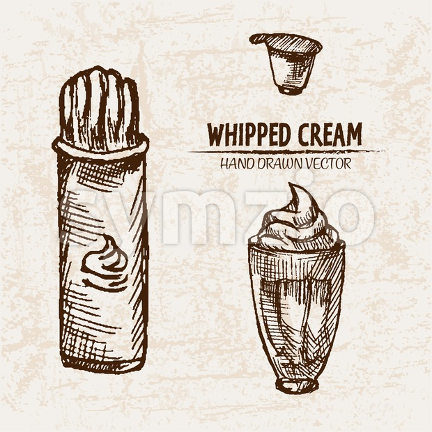 Digital vector detailed line art whipped cream can and milkshake hand drawn retro illustration collection set. Thin artistic pencil outline. Vintage Stock Vector