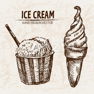 Digital vector detailed line art ice cream in cone and bowl hand drawn retro illustration collection set. Thin artistic pencil outline. Vintage ink Stock Vector