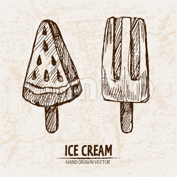 Digital vector detailed line art juicy ice cream on stick hand drawn retro illustration collection set. Thin artistic pencil outline. ...