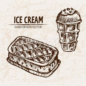 Digital vector detailed line art waffle ice cream in cone and hand drawn retro illustration collection set. Thin artistic pencil outline. Vintage ink Stock Vector