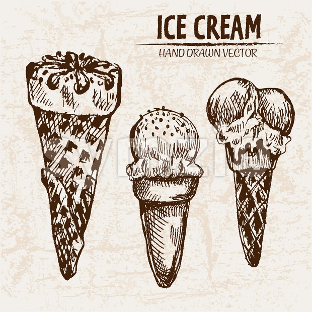 Digital vector detailed line art ice cream in waffle cones hand drawn retro illustration collection set. Thin artistic pencil outline. Vintage ink Stock Vector