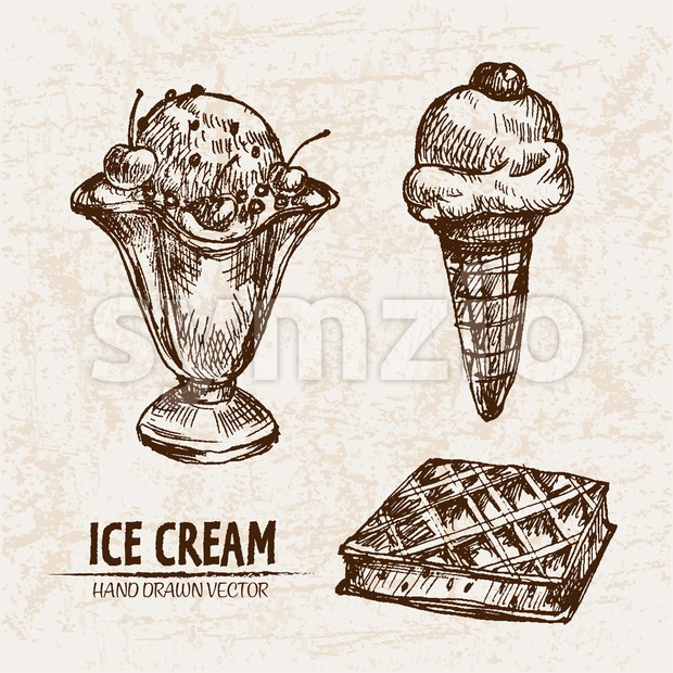 Digital vector detailed line art ice cream in waffle cone and bowl hand drawn retro illustration collection set. Thin artistic pencil outline. Vintage Stock Vector