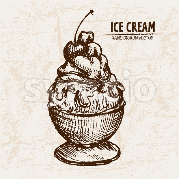 Digital vector detailed line art sundae ice cream in glass bowl hand drawn retro illustration collection set. Thin artistic pencil ...