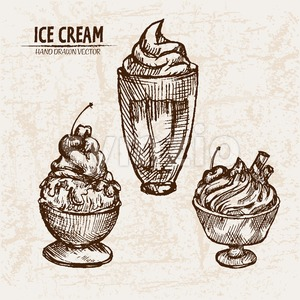 Digital vector detailed line art sundae ice cream in glass bowls hand drawn retro illustration collection set. Thin artistic pencil outline. Vintage Stock Vector