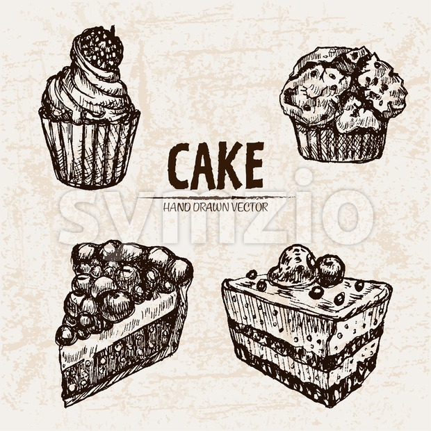 Digital vector detailed line art cake and cupcakes with fruits hand drawn retro illustration collection set. Thin artistic pencil outline. Vintage ink Stock Vector