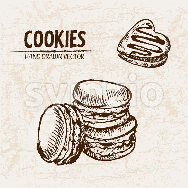 Digital vector detailed line art macarons and heart slice cake hand drawn retro illustration collection set. Thin artistic pencil outline. Vintage ink Stock Vector