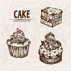 Digital vector detailed line art cupcakes and cake slices hand drawn retro illustration collection set. Thin artistic pencil outline. Vintage ink Stock Vector
