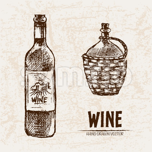 Digital vector detailed line art wine bottle and pitcher hand drawn retro illustration collection set. Thin artistic pencil outline. Vintage ink flat, Stock Vector