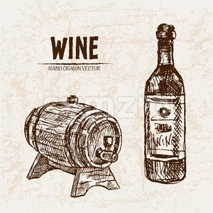 Digital vector detailed line art wine bottle and wood barrel hand drawn retro illustration collection set. Thin artistic pencil outline. Vintage ink Stock Vector