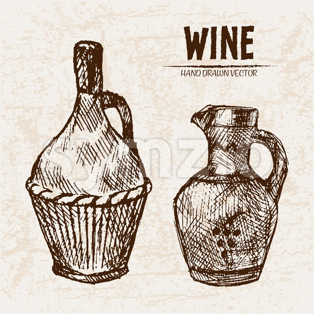 Digital vector detailed line art wine pitchers with ornaments and hand drawn retro illustration collection set. Thin artistic pencil outline. ...