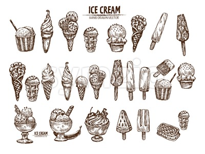 Digital vector detailed line art ice cream in cone and bowl hand drawn retro illustration collection set bundle. Thin artistic pencil outline. Vintage Stock Photo
