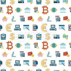 Digital vector bitcoin cryptocurrency and electronic money payments transfer icons set. Seamless pattern. Litecoin, ethereum, mining pools, blockchain Stock Vector