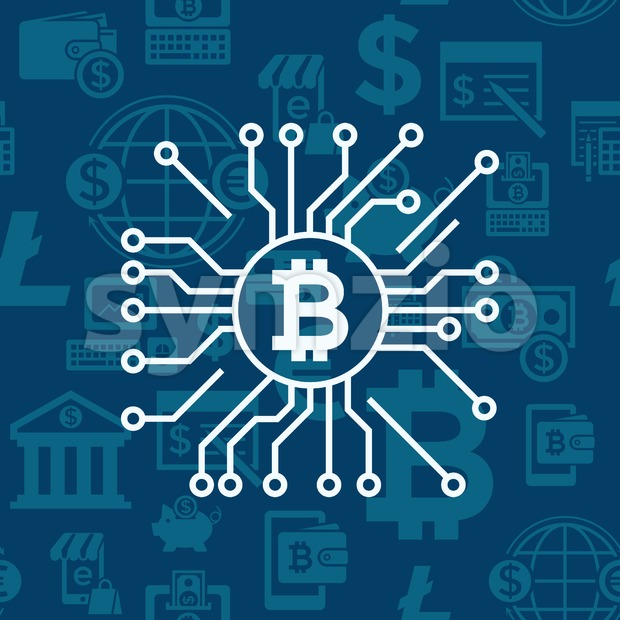 Digital vector bitcoin cryptocurrency and electronic money payments transfer icons set. Litecoin, ethereum, mining pools, blockchain and virtual trading. Circuit ...