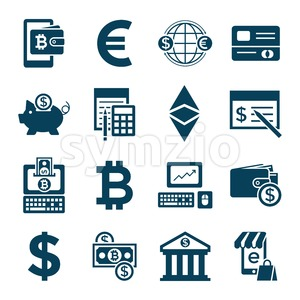 Digital vector bitcoin cryptocurrency and electronic money payments transfer icons set. Litecoin, ethereum, mining pools, blockchain and virtual Stock Photo