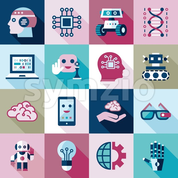 Digital vector artificial intelligence and electronic technologies simple flat icon set. Internet of things concept with chip, cars and mobile brain. Stock Vector