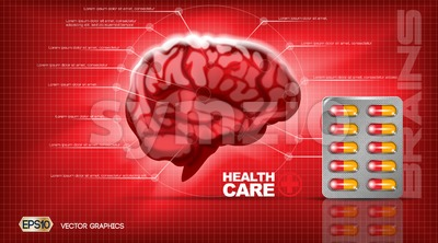 Digital vector red medicine brain structure Stock Vector