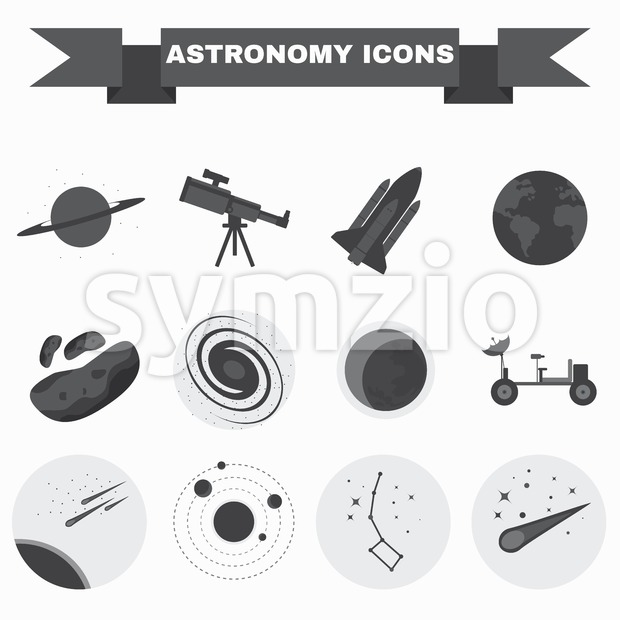 Astronomy Flat Vector Icons Set. Science objects for infographics, flyers, banners, brochures, books or booklets. Digital Illustrations on a space ...