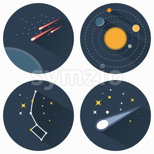 Space stars constellations, galaxies and comets. Solar system vector flat icons set illustration. Objects used for education astronomy manuals and Stock Vector