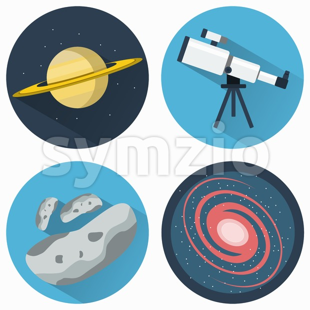 Astronomy Icons Set. Planets and Galaxies and Meteors. Telescope for viewing galaxies, star clusters, nebulae. Objects used for education manuals ...