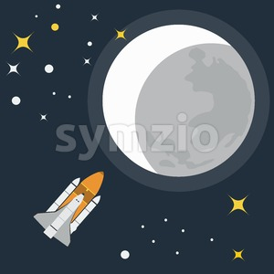 Space Rocket Flight to Moon. Galaxy Exploration. Rocket in Space. Moon with Stars. Vector digital illustration. Stock Vector