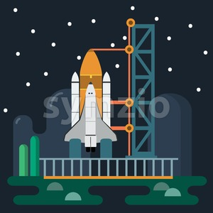 Rocket before Launch. Galaxy Exploration. Space Rocket and Launch Tower on Earth. Vector digital illustration. Digital background vector illustration. Stock Vector