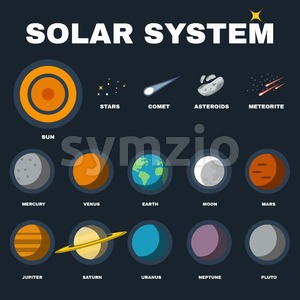 Solar System Planets, Stars, Asteroids, Meteorites and Comet. Astronomy Course Materials. Galaxy Planets set. Vector digital illustration. Stock Vector
