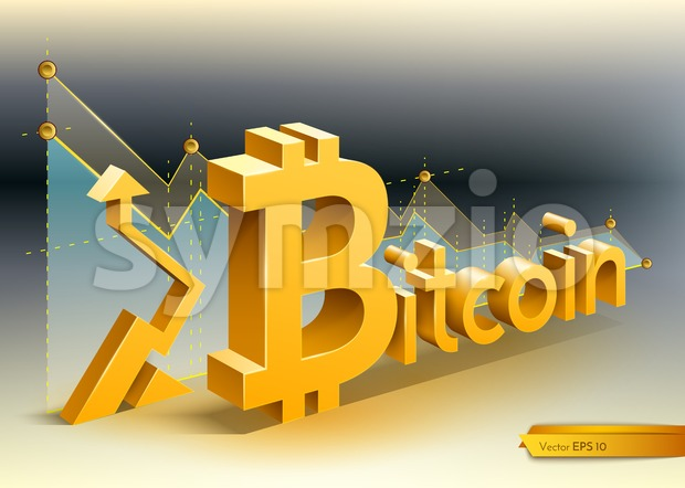 Digital vector bitcoin cryptocurrency chart diagram graphic payments money transfers financial concept
