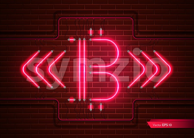 Digital Vector Bitcoin neon light. Detailed cryptocurrency illustration on brick wall background Stock Vector