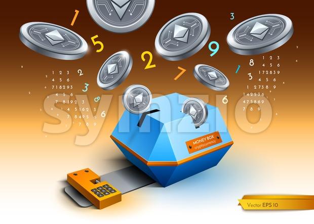 Digital vector bitcoin etherium cryptocurrency blockchain detailed illustration. Money spread Stock Vector