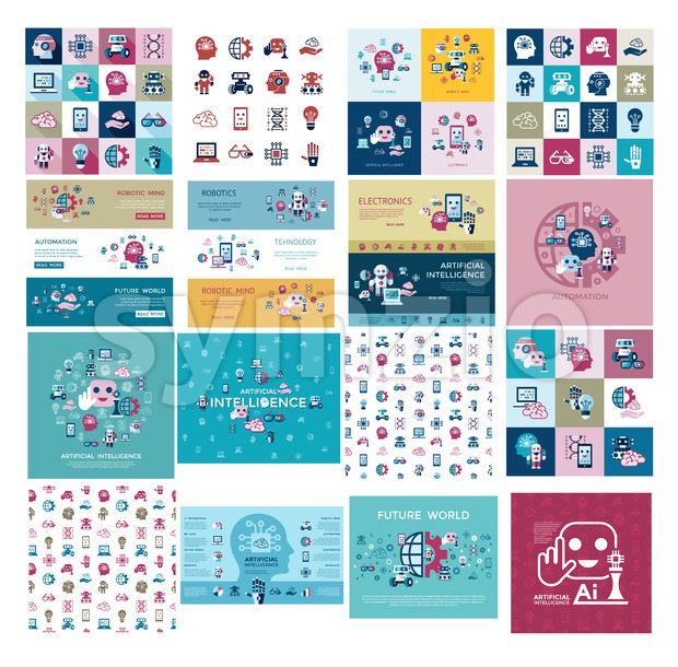 Digital vector artificial intelligence and electronic technologies simple flat icon set. Internet of things concept with chip, cars and mobile ...